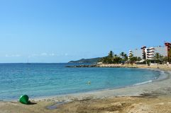 Ses Figueretes beach in Ibiza Island, Spain Royalty Free Stock Images