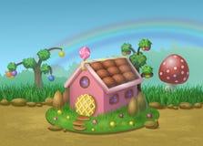 Süßes Haus von Plätzchen und von Süßigkeiten Lizenzfreie Stockfotos