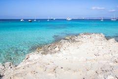 Beach Ses Illetas, Formentera,   Spain Stock Photography