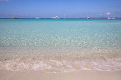 Beach Ses Illetas, Formentera,   Spain. Ses Illetas beach in Formentera,  Balearic Islands, Spain Stock Photography