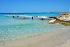 Ses Illetes海滩在Formentera,巴利阿里群岛 免版税库存图片