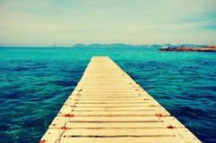 Ses Illetes海滩在福门特拉岛,巴利阿里群岛 免版税库存图片