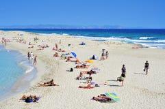 Ses Illetes Beach in Formentera. FORMENTERA, SPAIN - SEPTEMBER 20: Ses Illetes Beach on September 20, 2012 in Formentera, Balearic Islands, Spain. Formentera is Stock Image
