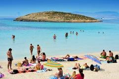 Ses Illetes Beach in Formentera, Balearic Islands, Spain. FORMENTERA, SPAIN - SEPTEMBER 18: Ses Illetes Beach on September 18, 2012 in Formentera, Balearic Stock Images