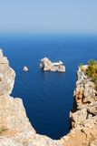 Ses margalides islands. Two little islands in the North-East of Ibiza. Called Ses Margalides. A legend says that Christopher Colón put to the island Margarita Royalty Free Stock Photo
