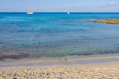 Ses Platgetes plaża w Formentera, Hiszpania Obrazy Stock