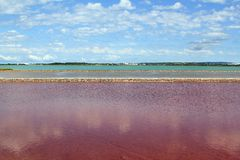 Ses Salines Formentera colorful saltworks horizon Royalty Free Stock Photo