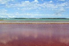 Ses Salines Formentera colorful saltworks horizon. In Balearic islands Royalty Free Stock Photo