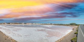 Ses Salines Formentera colorful saltworks horizon in Balearic is Royalty Free Stock Photo