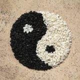 Sesam Yin och Yang Symbol royaltyfria foton