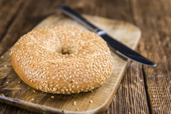 Sesame Bagels (selective focus). Some fresh baked Sesame Bagels (selective focus; close-up shot Stock Photography