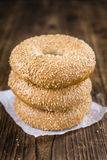 Sesame Bagels (selective focus). Some fresh baked Sesame Bagels selective focus; close-up shot Royalty Free Stock Photos