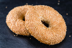 Sesame Bagels (selective focus). Some fresh baked Sesame Bagels (selective focus; close-up shot Stock Photo
