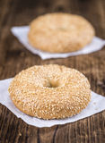 Sesame Bagels (selective focus). Some fresh baked Sesame Bagels selective focus; close-up shot Stock Photography
