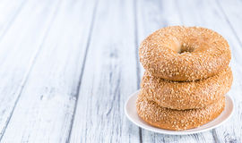 Sesame Bagels (selective focus). Some fresh baked Sesame Bagels (selective focus; close-up shot Stock Images