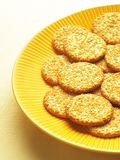 Sesame biscuits. Plate of delicious sesame biscuits Stock Photos