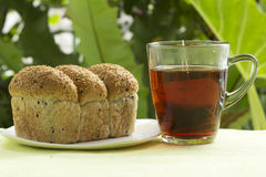 Sesame bread and Hot Tea Royalty Free Stock Photography