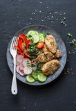 Sesame breading teriyaki baked chicken breast and fresh vegetables. Baked chicken and tomatoes, cucumbers, peppers, radishes, micr. O greens salad, top view Stock Photos