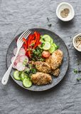 Sesame breading teriyaki baked chicken breast and fresh vegetables. Baked chicken and tomatoes, cucumbers, peppers, radishes, micr. O greens salad, top view Royalty Free Stock Photo