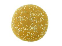 A sesame bun from up on white stock images