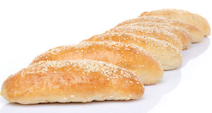 Sesame buns aligned diagonally Royalty Free Stock Image