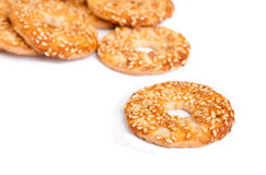 Sesame cakes on white background Royalty Free Stock Photography