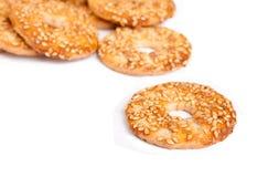 Sesame cakes on white background. Some sesame cakes on white background Royalty Free Stock Photography