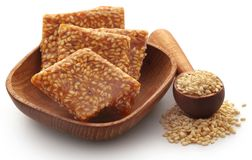 Sesame caramel candy. Very popular in Indian subcontinent Royalty Free Stock Photography