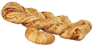 Sesame Cheese Puff Pastry Braid And Croissant Roll Isolated On White Background Stock Photography