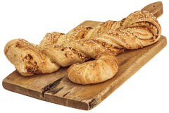 Sesame Cheese Puff Pastry Braid And Croissant Roll On Old Cutting Board Isolated On White Background Royalty Free Stock Photo