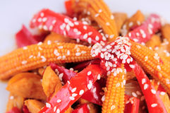 Sesame Chicken. Close up food picture red pepper baby corn sesame Royalty Free Stock Images