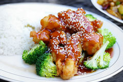 Sesame chicken with broccoli Royalty Free Stock Photo