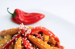 Sesame Chicken with Red Pepper Stock Photos