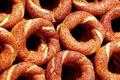 Sesame coated Turkish bagels. Traditional sesame coated bagel which is called as simit in Turkish Stock Photo