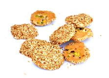 Sesame cookies_01. Sesame cookies called barazek, a Middle Eastern cookie made with sesame seeds honey and eggs as main ingredients with pistachio Stock Image