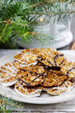 Sesame cookies on christmas eve table. Stock Images