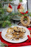 Sesame cookies on christmas eve table Royalty Free Stock Photos