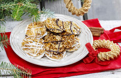 Sesame cookies on christmas eve table Royalty Free Stock Photography