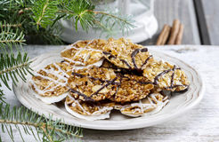Sesame cookies on christmas eve table Royalty Free Stock Images