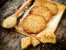 Sesame cookies on the table Royalty Free Stock Images
