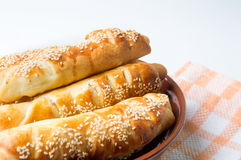 Sesame covered pastry in a bowl Stock Photo