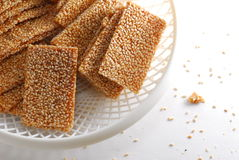Sesame cracker. Biscuit in tray Royalty Free Stock Photography