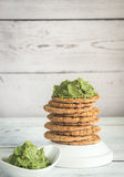 Sesame crispbread with guacamole Stock Images