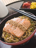 Sesame Crusted Salmon Fried Noodles and Pickles Stock Image