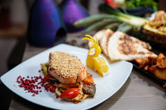 Sesame crusted salmon Royalty Free Stock Images