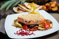 Sesame crusted salmon Stock Photography