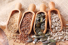 Sesame, flax, pumpkin and sunflower seeds Royalty Free Stock Photos