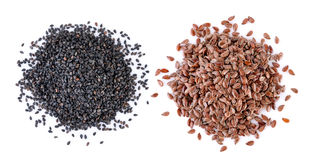 Sesame and Flax seeds heap Royalty Free Stock Photos