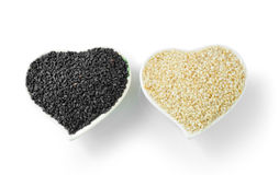 Sesame in Heart Shaped Cup Royalty Free Stock Photography