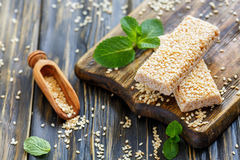 Free Sesame Honey Bars And Wooden Scoop. Royalty Free Stock Photos - 90248638